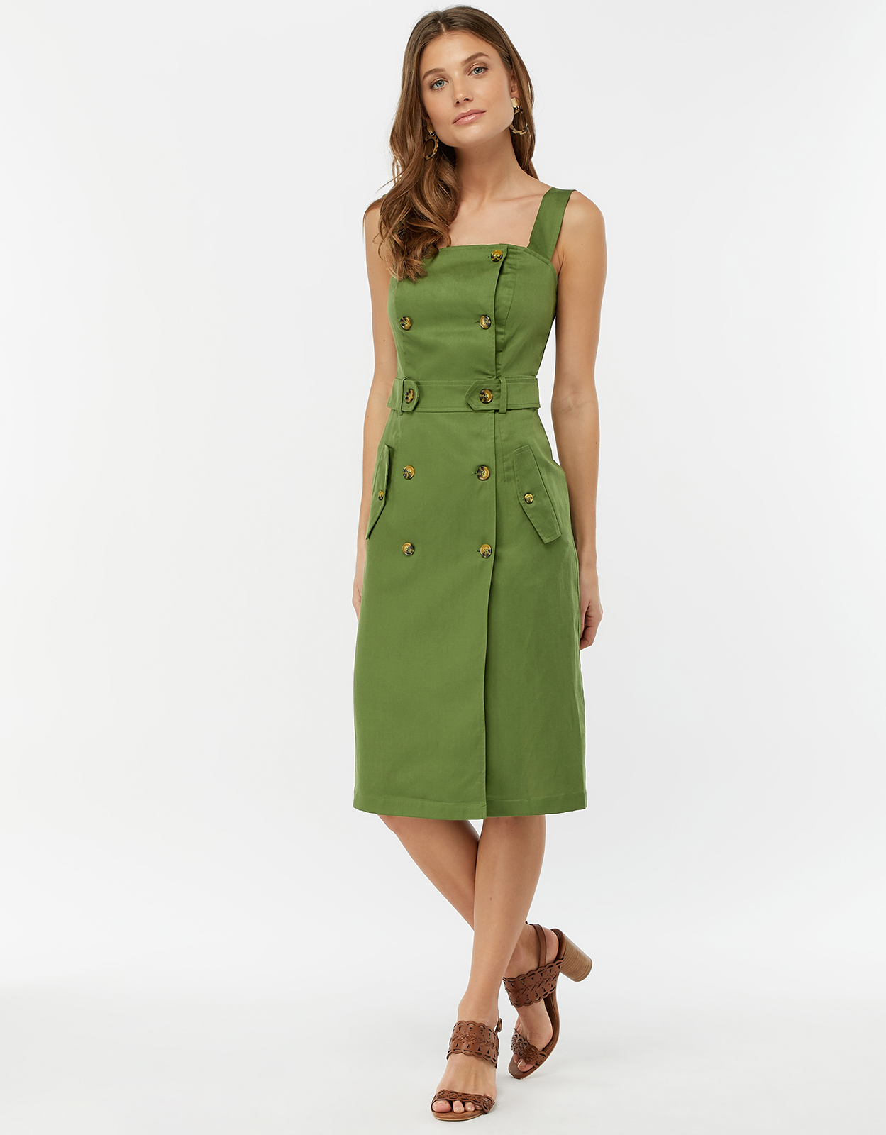Monsoon Bryony Linen Button Through Dress